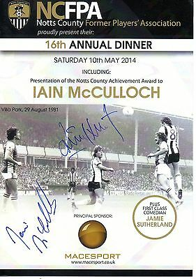 Notts County Dinner Menu 2014 signed x Ian McCulloch + 20 others