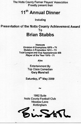 Notts County Dinner Menu 2009 signed x Brian Stubbs
