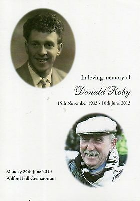 Don Roby (Derby Co, Notts County) Memorial service brochure