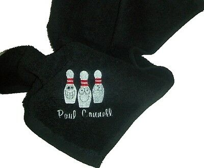 Personalised Cotton Ten Pin Bowling Towel With Embroidered Pin Characters Design