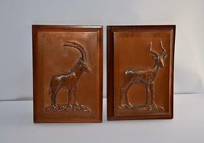 Pair Retro 70S Copper Wall Plaques Antelope Impala Sable Rhodesia Frame Vintage