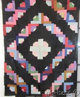 PA Dutch c 1900s Log Cabin Vintage QUILT Top Split Eye Centers! Graphic