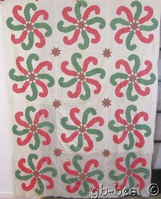 Fun! 1930s Princess Feather Stars Applique QUILT Top Pink Green Vintage