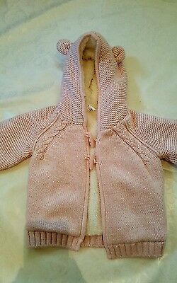 new with tags debenhams girls pink knit duffle cardigan 9-12 months