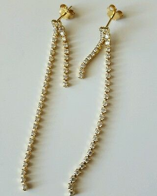 18KT Yellow Gold Dangle Earrings 3.6 Grams With Cz
