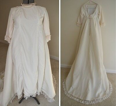 Henri Bendel Designer RARE 1960s Wedding Gown Ivory Chapel Train
