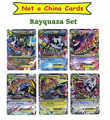 Pokemon Card Mega EX Set of 6 Cards Rayquaza Set Platinum Cards