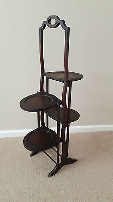 Vintage Edwardian 4 tier folding cake stand, muffin stand, dumb waiter