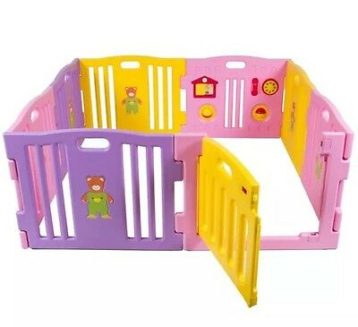 Plastic 8 Sided Playpen Pink And Yellow With Activity Panel And Door