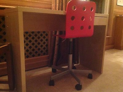 IKEA children's beech effect desk and red extending/swivel chair