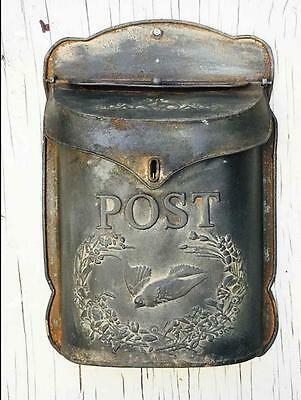 Vintage Style Stamped Galvanized Tin Metal Wall Mounted Post Box  Mailbox