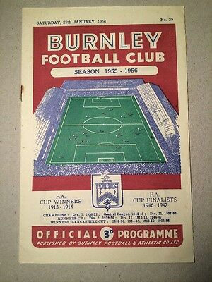 28/1/1956..BURNLEY v CHELSEA FA CUP PROGRAMME.. VERY GOOD..