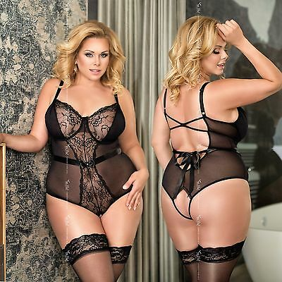 Body Ouvert Amelia in Schwarz Spitze Transparent Reizwäsche SoftLine Plus Size
