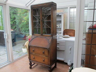 Vintage Arts and Crafts Oak Bureau Bookcase Art Deco Early 20th Century