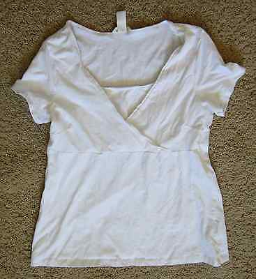 Women's H&M Mama Nursing T-Shirt Maternity Breastfeeding Top ~Size L~ White