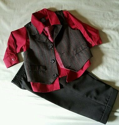 Dockers Christmas Holiday Outfit Pant and Shirt Vest Suit Baby Toddler 12M