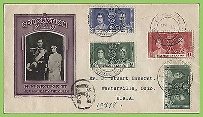 Cayman Islands 1937 KGVI Coronation set illustrated registered First Day Cover