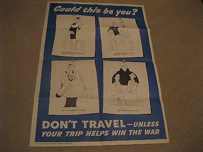 """""""Don't Travel Unless Your Trip Helps Win the War"""" golfing image Poster WWII"""