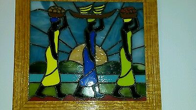 Native Women Real Stained Glass Wall Decor
