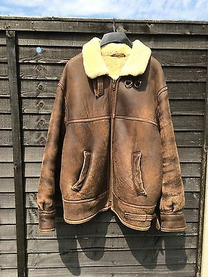 County Coats Of London - Real Sheepskin Leather Flying Jacket - Size 40