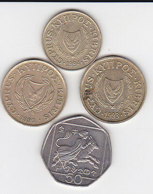 4x pre-euro coins from Cyprus