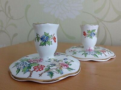 Vintage Crown Staffordshire Pagoda Fine Bone China Candle Holders. Pair