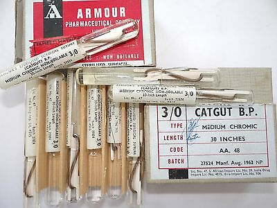 Vintage Armour Lab Medical Surgical Catgut B.p. Chromic Suture In Glass Tubes