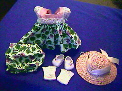 Vintage VOGUE GINNY DOLL OUTFIT-Sweet Dress,Panty,Socks,Shoes and Pink HAT-EXCLT