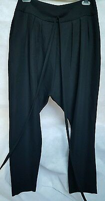 dropped crutch ladies black trousers size m 12-14