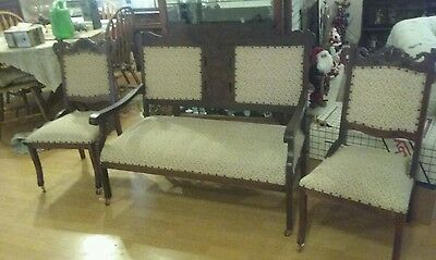 Antique Settee with Matching Chairs FedEx Shipping Available. Eastlake Wannabe.
