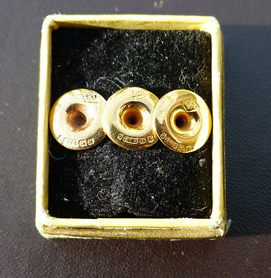 A Set of 3 Quality 9ct Yellow Gold Gents Collar Studs - Birmingham 1920
