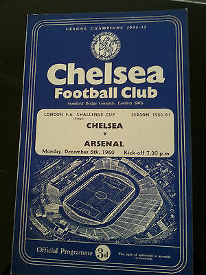 Chelsea v Arsenal London FA Challenge Cup Final 1960/61 - rare