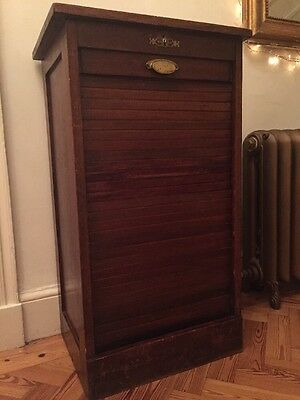 Vintage 1930s French Tambour Fronted Filing Cabinet