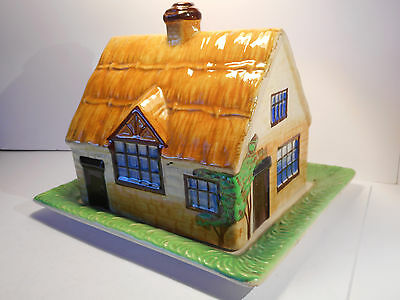 Vintage Thatched Cottage Butter Dish - Made in England