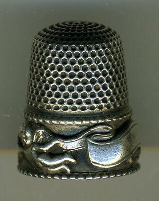 Sterling Silver Stern Bros Thimble, Cupids with Banner