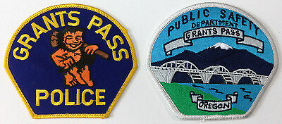 "*2 different* GRANTS PASS, Orgeon Police Patches- 1 OLD VINTAGE ""CAVEMAN"" patch!"