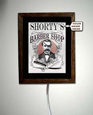 Personalized Barber Shop Hair Stylist Vintage Retro Art Wall Light Lighted Sign