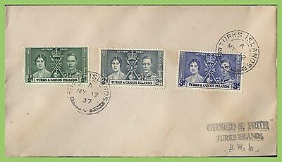 Turks & Caicos Islands1937 KGVI Coronation set on First Day Cover