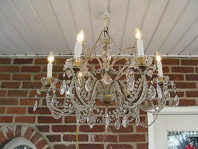 Antique Vintage Italian French Macaroni Beaded Crystal Chandelier SALE