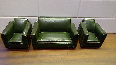 Vintage Art Deco Style Dolls House Furniture Sofa Settee and 2 Chairs Rexine