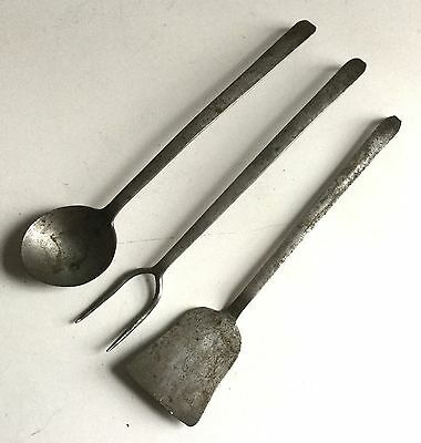 Antique Early  Hand Forged Primitive Kitchen Tools Utencils Set of 3
