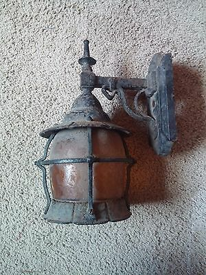 Vintage Iron Outdoor Porch Light with Embossed Textured Amber Glass Shade