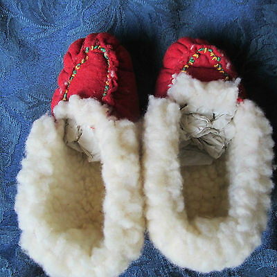Vintage Fur lined  Embroidered Handmade Slippers