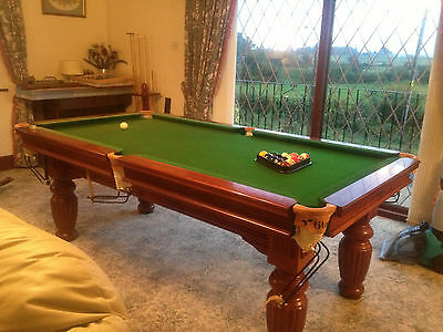 Snooker Pool Table 8' x 4' Titan Scoreboard Cues Rests & Stand Quality Oak Xmas