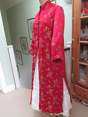 Vintage Silk Festive Red Embroidered Long Kimono Toggle Buttons