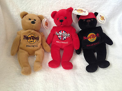 *NEW* SET OF 3 Hard Rock Cafe Hollywood CA Teddy Bears with Tags!