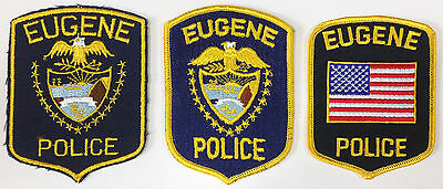 *3 Different* EUGENE, Orgeon Police Dept Patches - All Unused Older Styles!