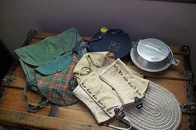 Vintage Scout Girl & Boy Items (Bags, Leggings, Canteen and Mess Kit)