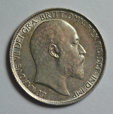 1909 King Edward VII SILVER SIXPENCE       **Uncirculated**.