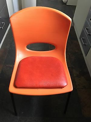 4 vintage 60's 70's style kitchen / dining / office chairs. Orange